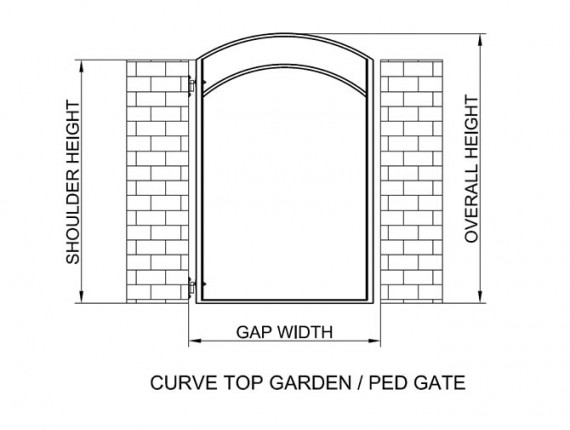 Curve top garden ped gate